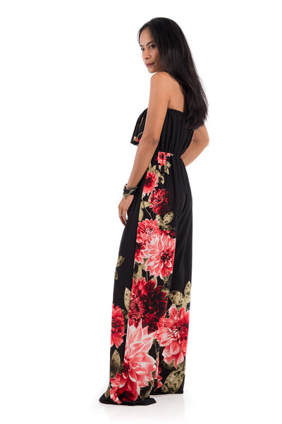 A gorgeous floral jumpsuit which can be worn strapless. This ruffle jumper has elastic on the top part and around the waist to ensure a perfect fit.