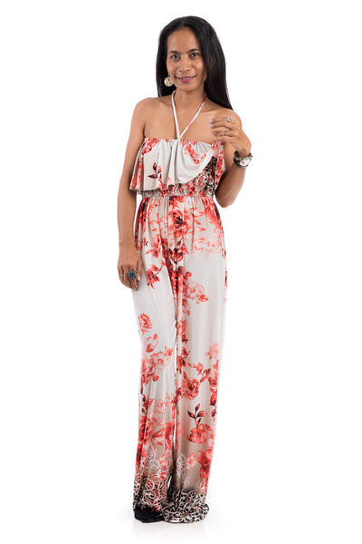 Floral Jumpsuit - Halter top jumpsuit