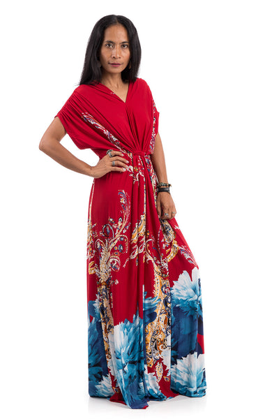 Red kimono top dress with short sleeves.  Big flower print dress with high waist.