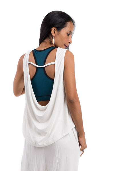 White top, Sleeveless off white top, Low cut back top