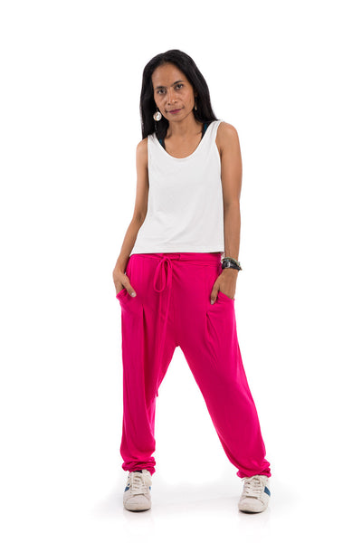 Pink pants, pink harem pants, long hot pink trousers : Urban Chic Collection no.15