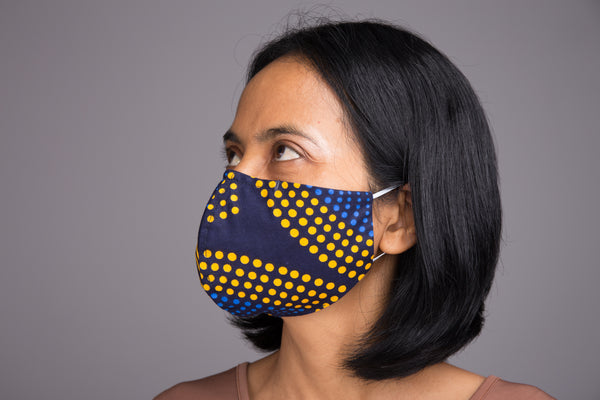 Buy face masks online | 3 layer Ankara cotton face mask with filter holder by Nuichan
