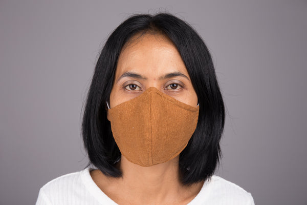 Reusable cotton face mask with filter pocket and foldable nose wire by Nuichan