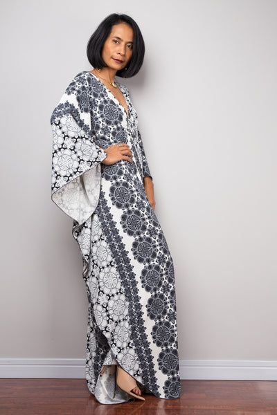 Black and White Kaftan Frock Dress, Loose fit maxi dress, Resort kaftan dress