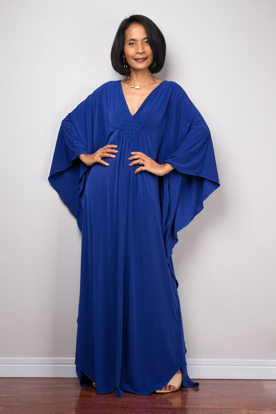 Buy blue kaftan dress online.  Affordable caftan dress by Nuichan.  Plus size kaftan dress.  Long royal blue dress for sale.