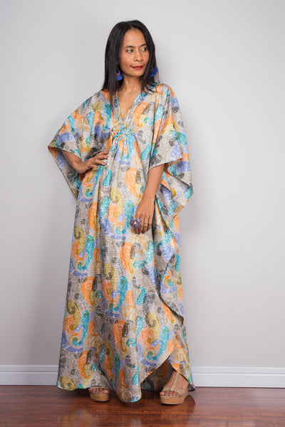 Kaftan, Paisley dress, Loose fit dress, Maxi dress