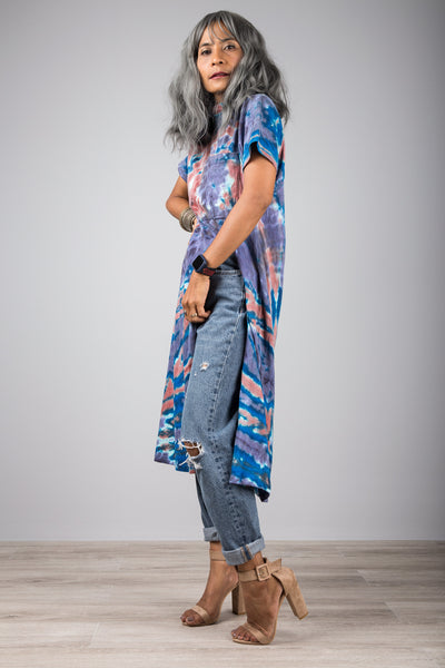 Tie dye dress with split
