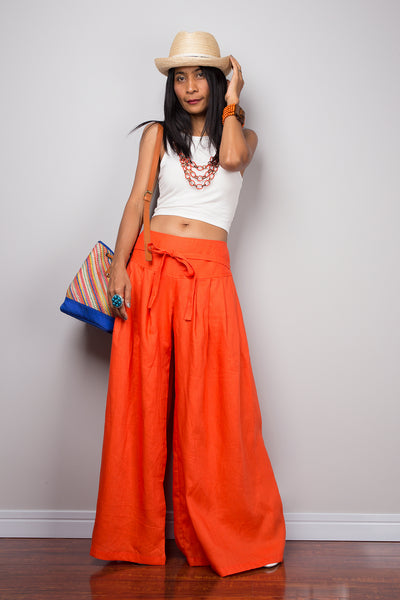 Linen Pants - Wide Leg Pants - Orange Pants