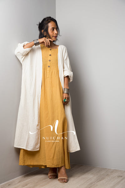 Off White dress, long off white dress, maxi dress with long sleeves, off white dress with v neckline