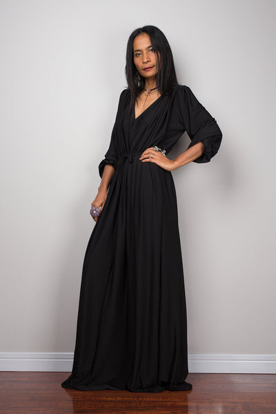 Black dress, long black dress, maxi dress with long sleeves, black evening dress with v neckline