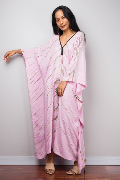 Pink Cotton kaftan, Tie dye dress, resort beachwear caftan, Summer kaftan