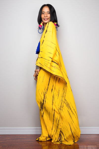 Long yellow kaftan maxi dress by Nuichan