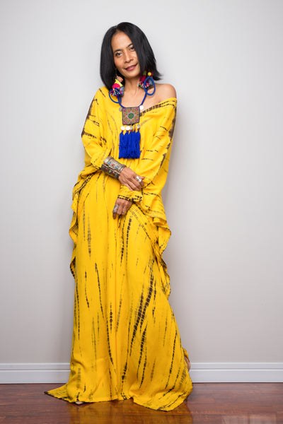Buy Kaftan dresses online. Yellow kaftan dress by Nuichan