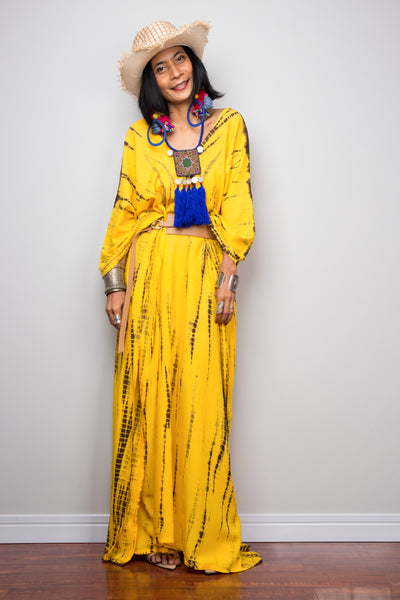Tie Dye kaftan dress, Yellow loose fit resort dress by Nuichan