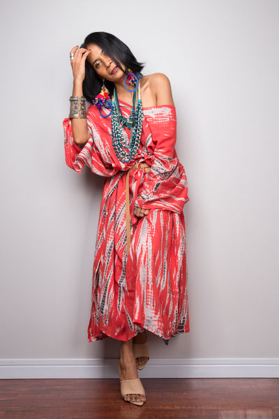 Boho tie dye kaftan dress with splits on the side by Nuichan