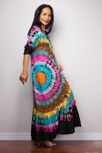 Tie dye shirt dress | Rainbow Tie dye Dress | Boho Festival dress | Colourful shirt dress