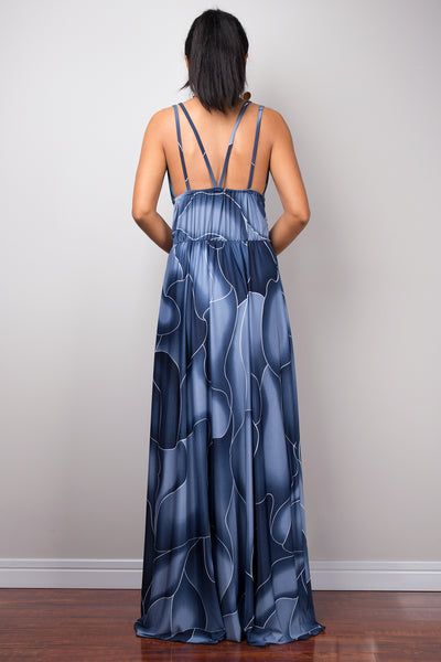 Blue Maxi Strap Dress, Formal evening frock dress, High-waist cocktail dress