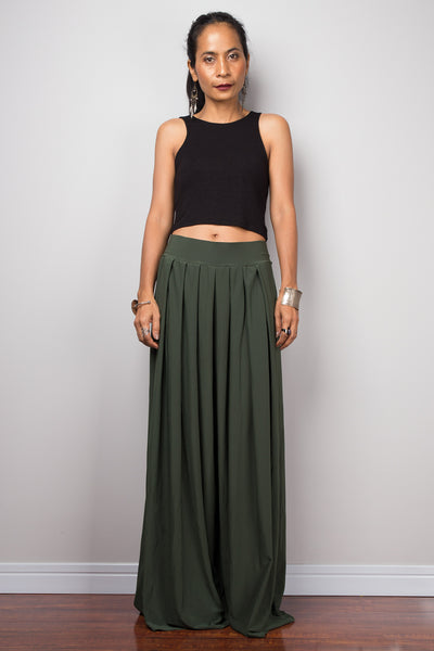 Wide Leg Pants | Palazzo pants | Green pleated women's trousers