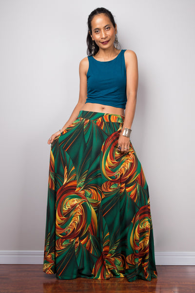 High waist skirt | Tropical maxi skirt | Floor length women's skirt
