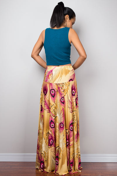 High waist skirt | boho peacock maxi skirt | Floor length women's skirt