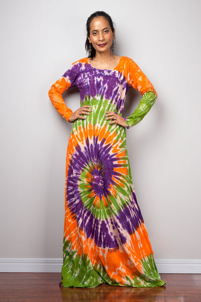 Tie dye swirl dress, Hippie Festival maxi dress, Long Sleeve Rainbow dress, Colourful gypsy dress