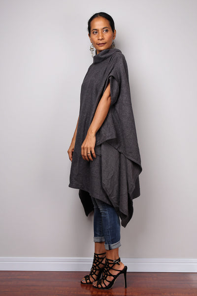 Poncho, oversized sweater, grey cape, poncho dress, tunic dress, cape dress, grey sweater