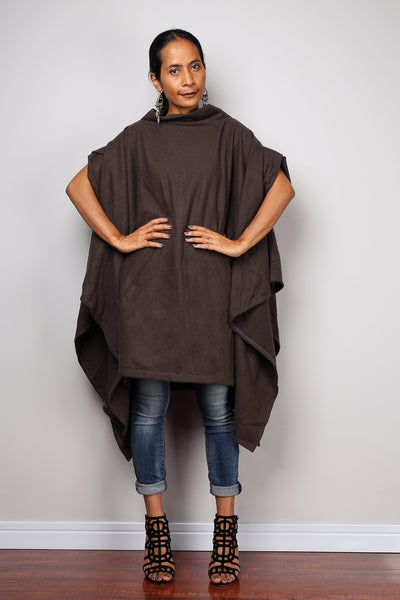Brown Poncho, oversized sweater, brown cape, poncho dress, tunic dress, cape dress, brown sweater