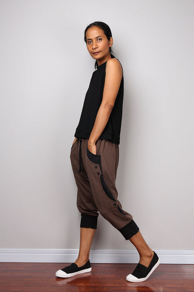 Jogger pants, low crotch pants, brown pants, lounge pants