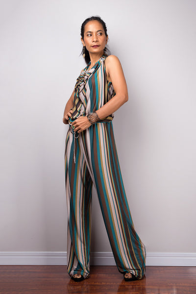 Striped Jumpsuit | Halter top with cowl neck jumper