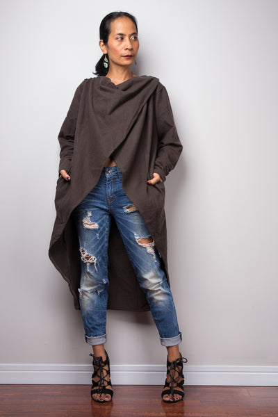 Brown Cardigan | Cross front Tunic | Brown Long Sleeved Cardigan | Swallowtail tunic