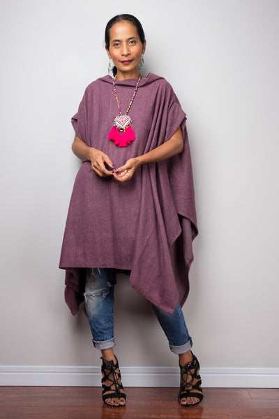 Poncho, oversized sweater, purple cape, poncho dress, tunic dress, cape dress