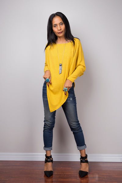 Yellow Sweater, Long sleeve tunic, Yellow Pullover, Poncho sweater, Yellow top, Sweater women, knit sweater, pullover sweater