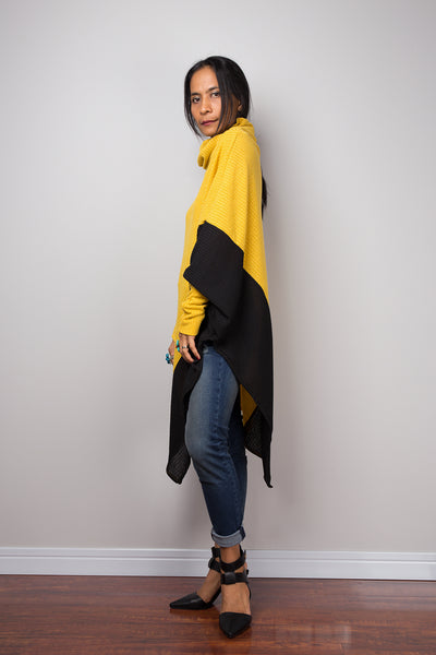 Yellow Poncho, Two tone tunic, Yellow and Black tunic, batwing tunic, top dress, sweater dress