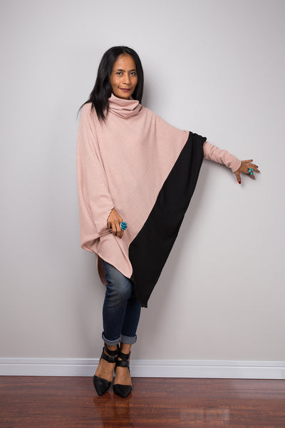 Two tone tunic, Nude and Black tunic, batwing tunic, top dress, sweater dress