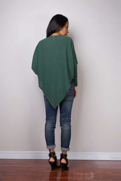 Green Sweater, Long sleeve tunic, Green Pullover, Poncho sweater, Green top, Sweater women, knit sweater, pullover sweater