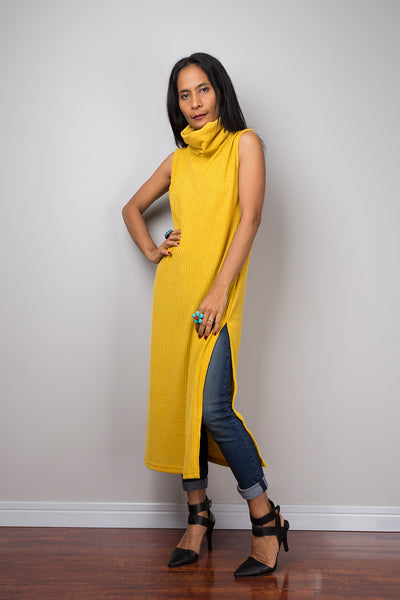 Yellow dress, Mid length turtleneck dress, Split dress, Sleeveless dress, knitted yellow dress