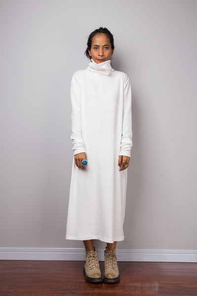 White dress, Mid length turtleneck dress, Tube dress, Long sleeve dress, knitted white dress