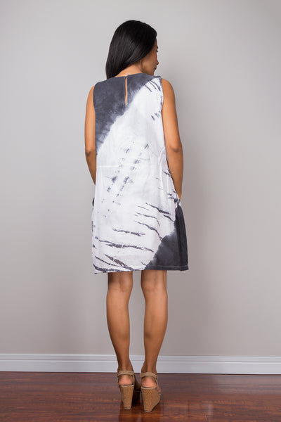 Tie dye dress, short dress, Summer Dress, Sleeveless dress, Black and White Dress, Shibori dress