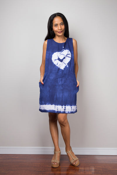 Blue dress, short dress, Summer Dress, Sleeveless dress, Tie Dye Dress, Shibori dress