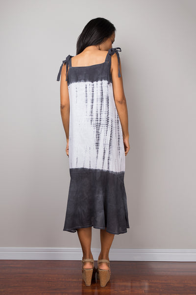 Summer Dress, Strap Dress, Black and white dress, Hand Dyed Shibori Dress, festival dress, boho dress