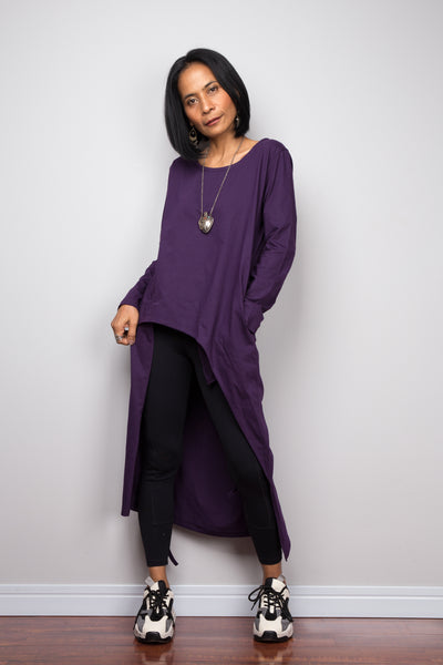 Asymmetrical purple tunic dress