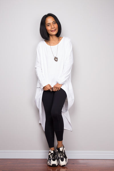 Asymmetrical white tunic dress