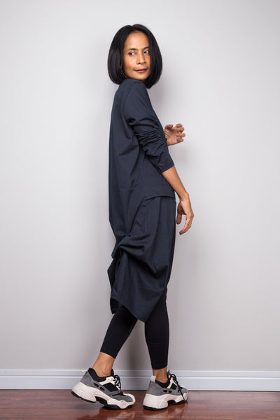 Asymmetrical navy blue tunic dress