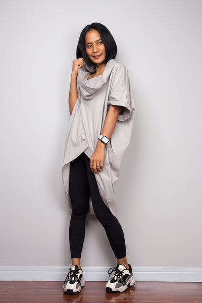 Grey pullover tunic dress with cowl neck