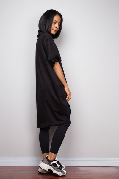 Black pullover tunic dress with cowl neck