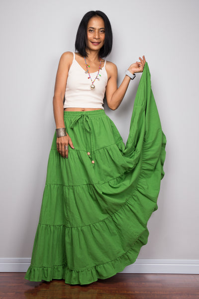 Tiered green peasant maxi skirt