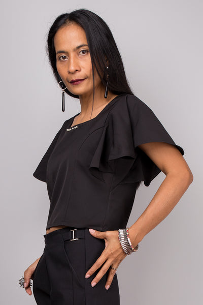 Black top, Short sleeved black top, black tunic, Crop top, Ruffle sleeve top, Elegant black top
