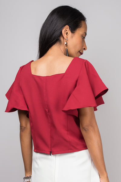 Red top, Short sleeved red top, red tunic, Crop top, Ruffle sleeve top, Elegant red top