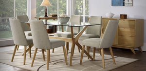 Milano glass top 7 piece Dining Setting / Ilva upholstered dining chairs