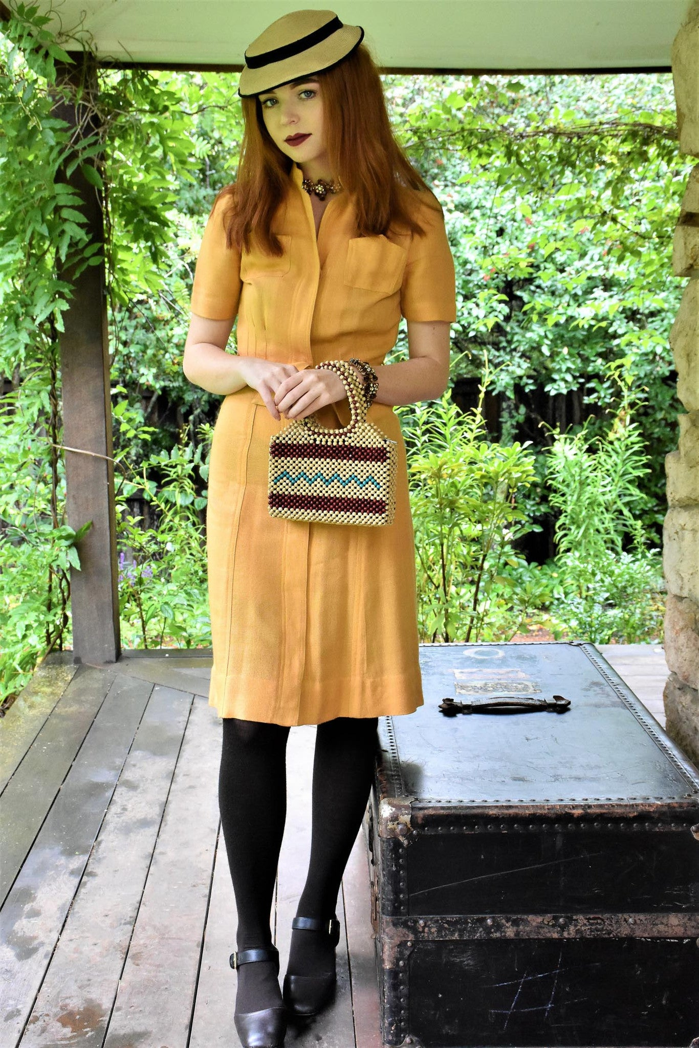1940s Yellow gold linen shirt dress